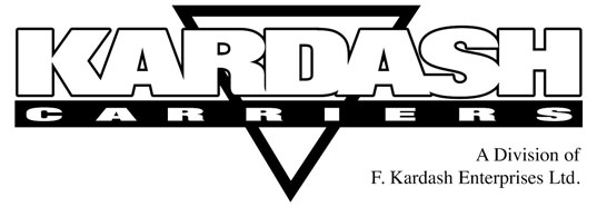 Kardash Carriers logo blank and white